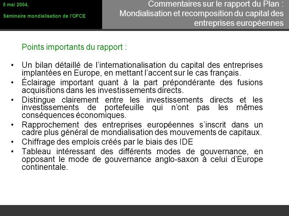 Points importants du rapport : Un bilan détaillé de linternationalisation du capital des entreprises implantées en Europe, en mettant laccent sur le cas français.