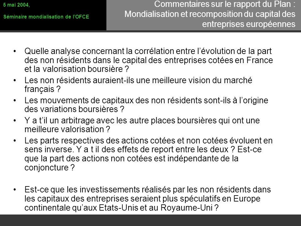 Quelle analyse concernant la corrélation entre lévolution de la part des non résidents dans le capital des entreprises cotées en France et la valorisation boursière .