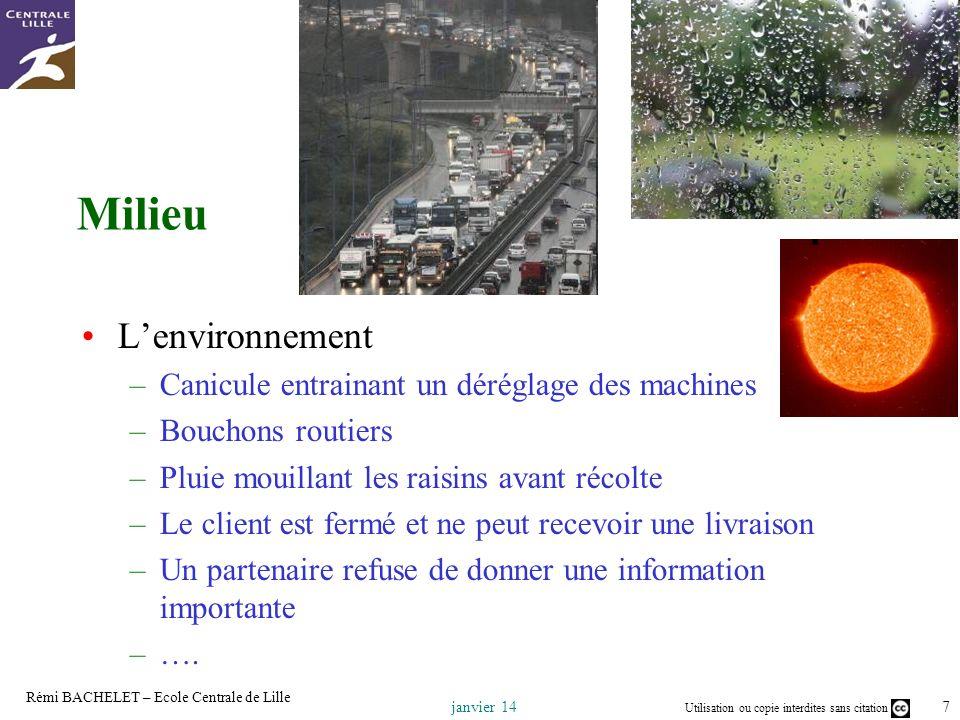 Utilisation ou copie interdites sans citation 18 janvier 14 Rémi BACHELET – Ecole Centrale de Lille
