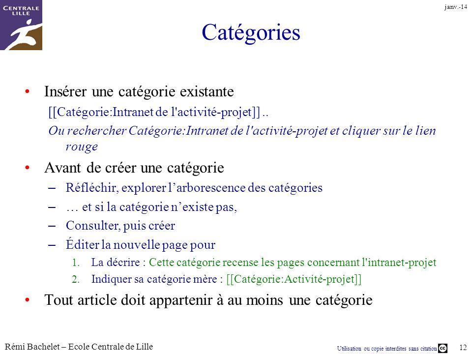 Utilisation ou copie interdites sans citation Rémi Bachelet – Ecole Centrale de Lille 12 janv.-14 Catégories Insérer une catégorie existante [[Catégorie:Intranet de l activité-projet]]..