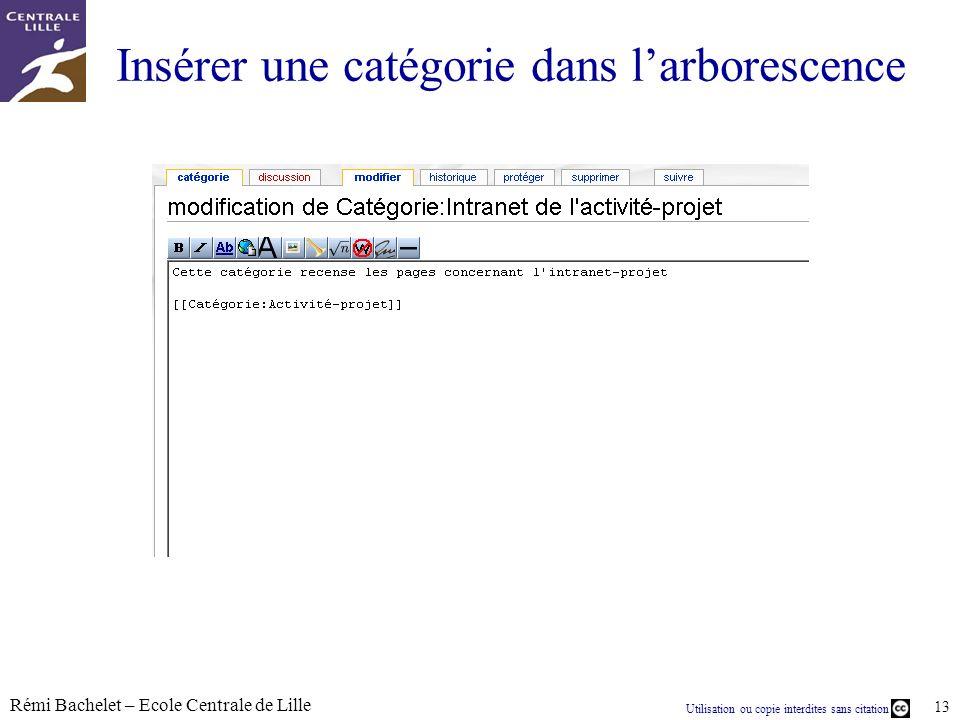 Utilisation ou copie interdites sans citation Rémi Bachelet – Ecole Centrale de Lille 13 Insérer une catégorie dans larborescence