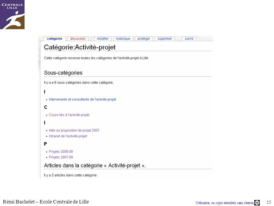 Utilisation ou copie interdites sans citation Rémi Bachelet – Ecole Centrale de Lille 15