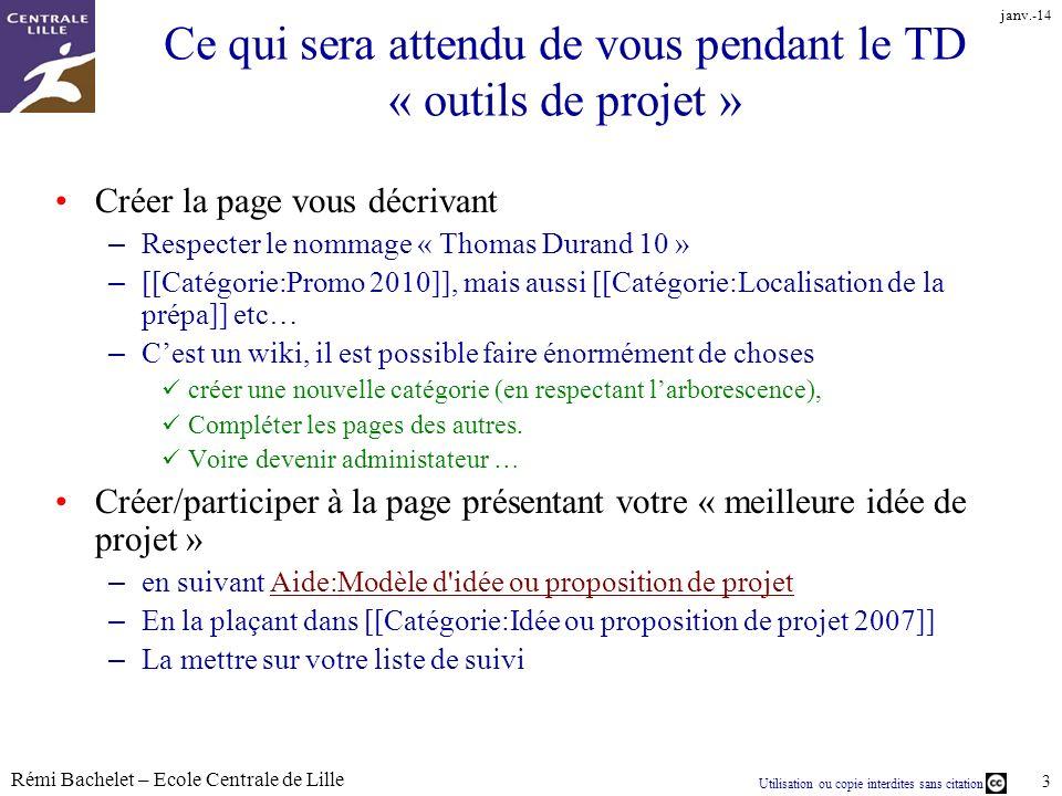Utilisation ou copie interdites sans citation Rémi Bachelet – Ecole Centrale de Lille 3 janv.-14 Ce qui sera attendu de vous pendant le TD « outils de
