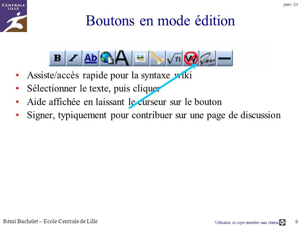 Utilisation ou copie interdites sans citation Rémi Bachelet – Ecole Centrale de Lille 9 janv.-14 Boutons en mode édition Assiste/accès rapide pour la
