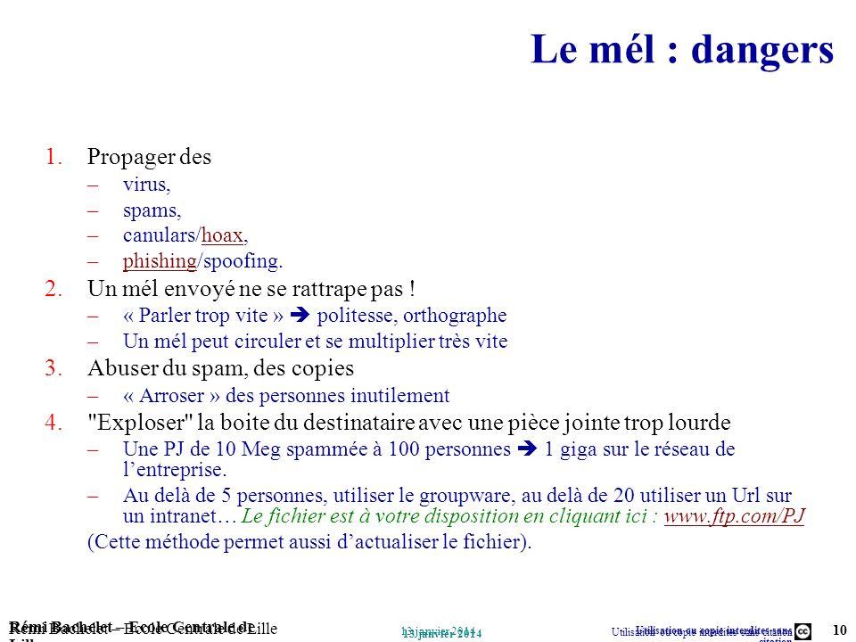 Utilisation ou copie interdites sans citation Rémi Bachelet – Ecole Centrale de Lille 10 13 janvier 2014 Rémi Bachelet – Ecole Centrale de Lille Utili