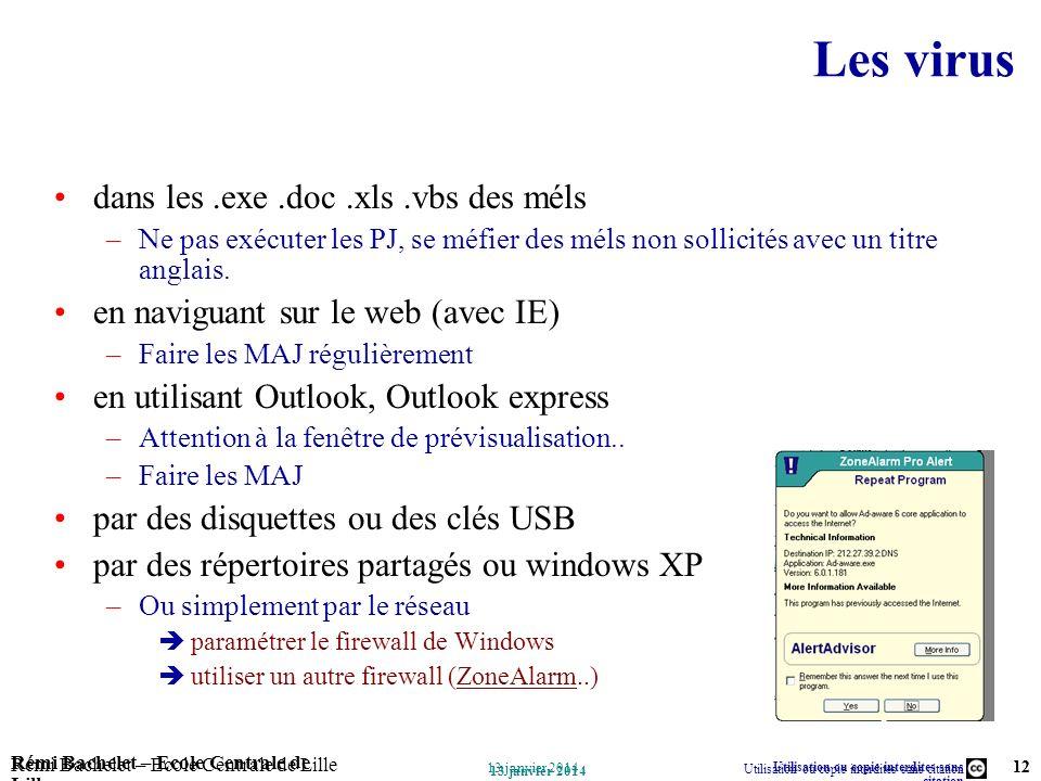 Utilisation ou copie interdites sans citation Rémi Bachelet – Ecole Centrale de Lille 12 13 janvier 2014 Rémi Bachelet – Ecole Centrale de Lille Utili
