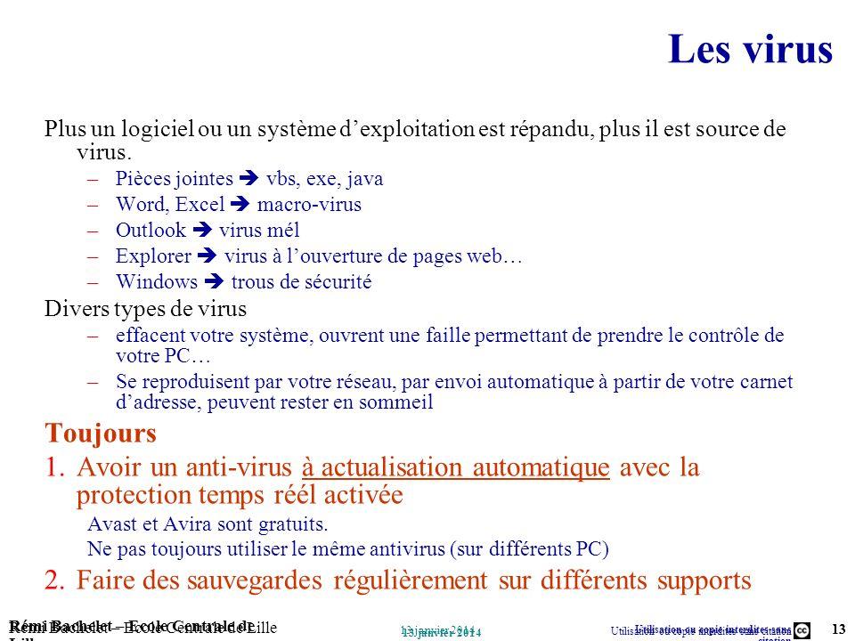 Utilisation ou copie interdites sans citation Rémi Bachelet – Ecole Centrale de Lille 13 13 janvier 2014 Rémi Bachelet – Ecole Centrale de Lille Utili
