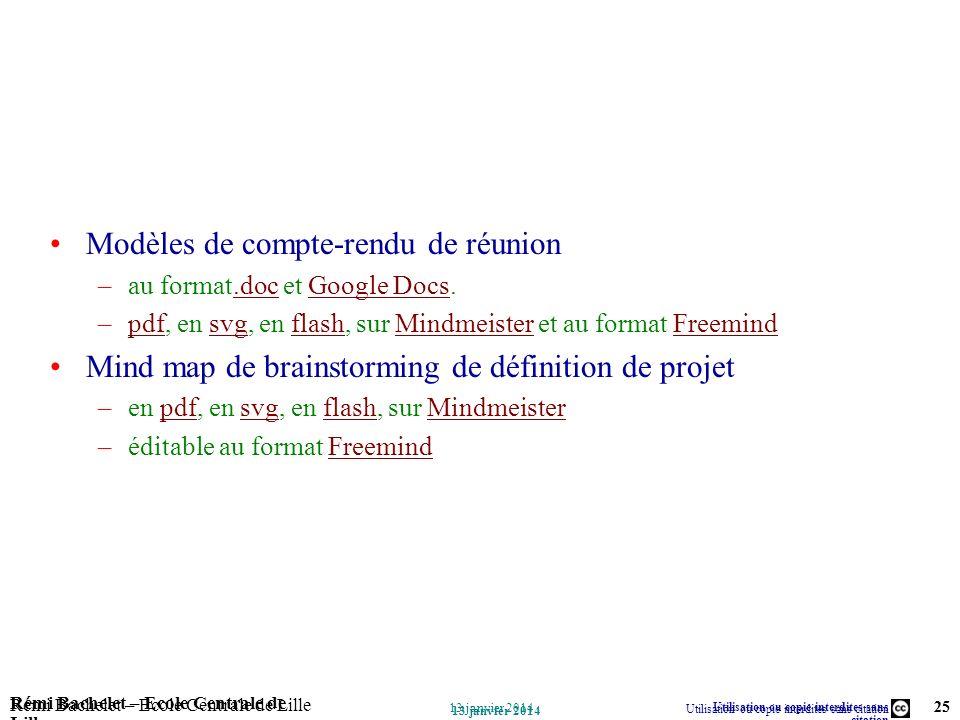 Utilisation ou copie interdites sans citation Rémi Bachelet – Ecole Centrale de Lille 25 13 janvier 2014 Rémi Bachelet – Ecole Centrale de Lille Utili