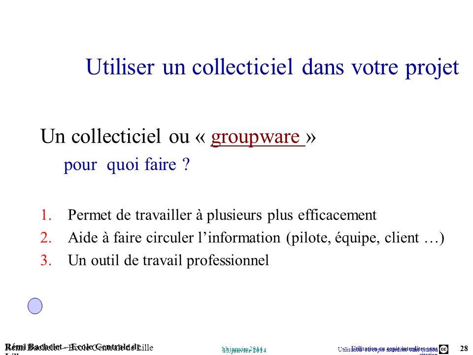 Utilisation ou copie interdites sans citation Rémi Bachelet – Ecole Centrale de Lille 28 13 janvier 2014 Rémi Bachelet – Ecole Centrale de Lille Utili