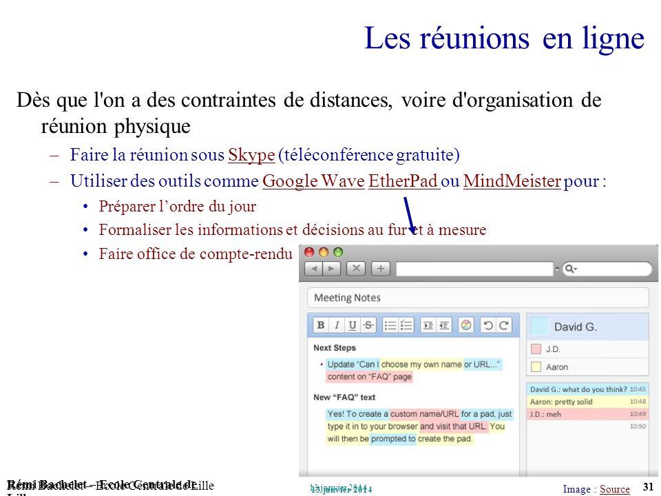 Utilisation ou copie interdites sans citation Rémi Bachelet – Ecole Centrale de Lille 31 13 janvier 2014 Rémi Bachelet – Ecole Centrale de Lille Utili