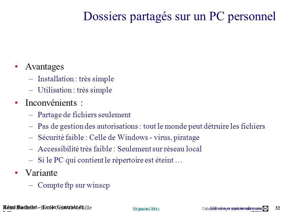 Utilisation ou copie interdites sans citation Rémi Bachelet – Ecole Centrale de Lille 32 13 janvier 2014 Rémi Bachelet – Ecole Centrale de Lille Utili