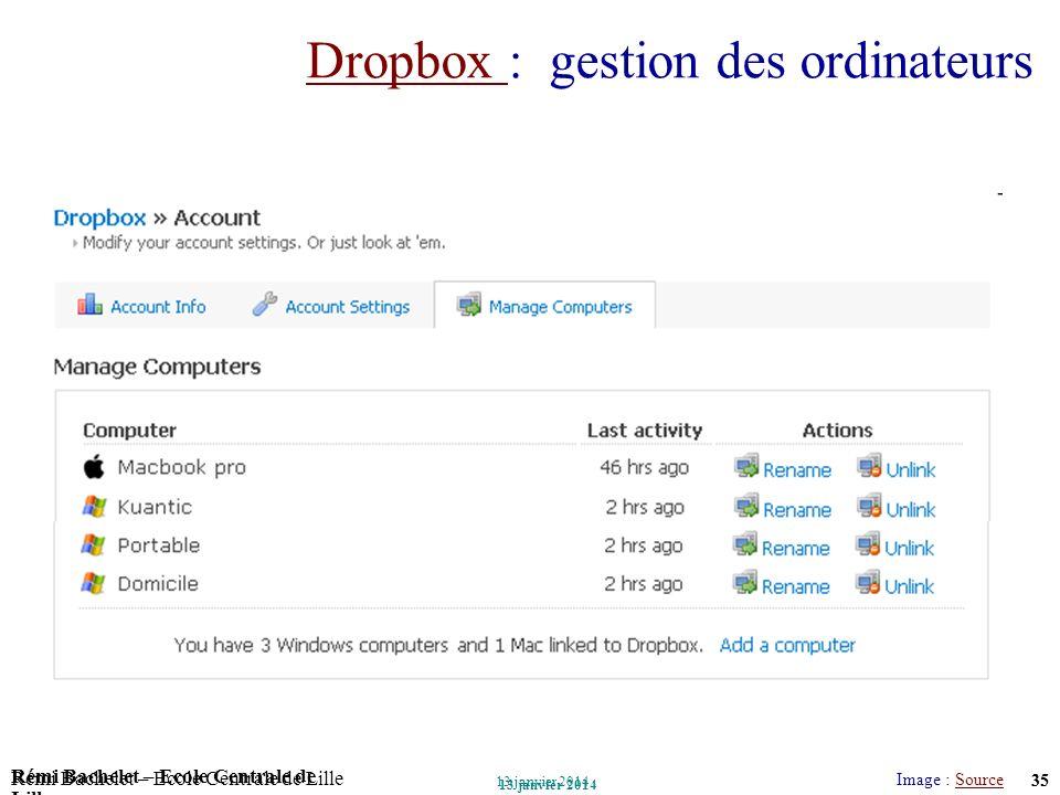 Utilisation ou copie interdites sans citation Rémi Bachelet – Ecole Centrale de Lille 35 13 janvier 2014 Rémi Bachelet – Ecole Centrale de Lille Utili