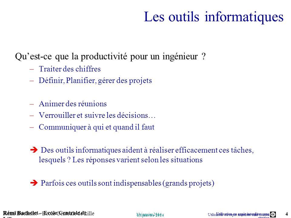 Utilisation ou copie interdites sans citation Rémi Bachelet – Ecole Centrale de Lille 4 13 janvier 2014 Rémi Bachelet – Ecole Centrale de Lille Utilis