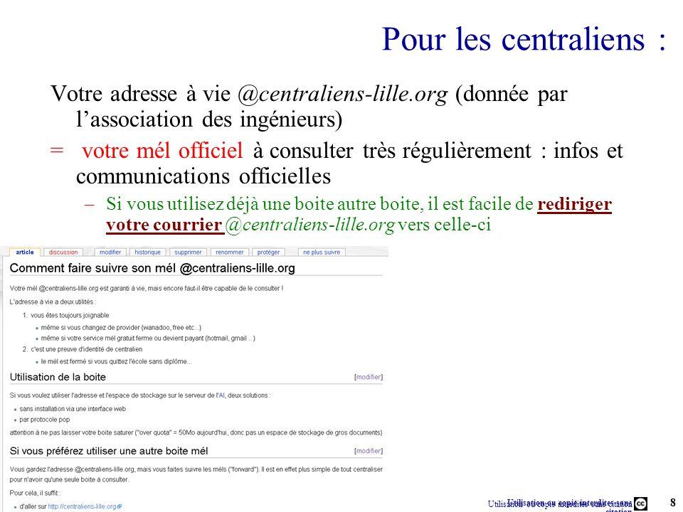 Utilisation ou copie interdites sans citation Rémi Bachelet – Ecole Centrale de Lille 8 13 janvier 2014 Rémi Bachelet – Ecole Centrale de Lille Utilis