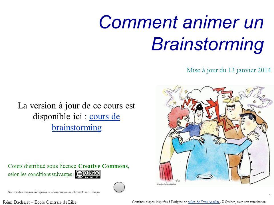Utilisation ou copie interdites sans citation janvier 14 Rémi Bachelet – Ecole Centrale de Lille 1 Comment animer un Brainstorming La version à jour d
