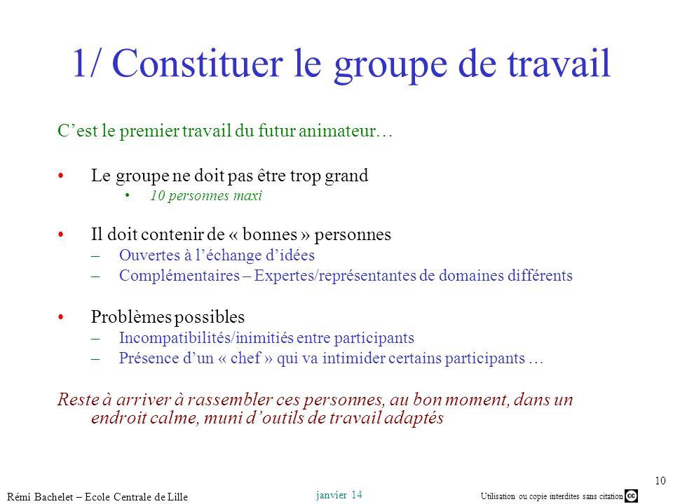 Utilisation ou copie interdites sans citation janvier 14 Rémi Bachelet – Ecole Centrale de Lille 10 1/ Constituer le groupe de travail Cest le premier
