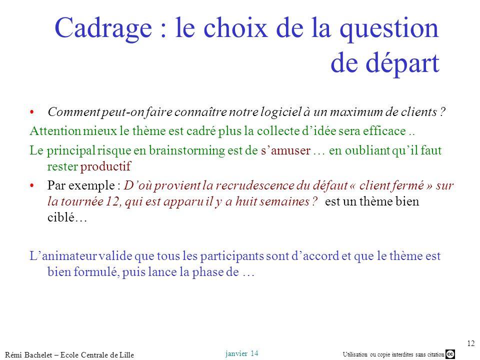 Utilisation ou copie interdites sans citation janvier 14 Rémi Bachelet – Ecole Centrale de Lille 12 Cadrage : le choix de la question de départ Commen