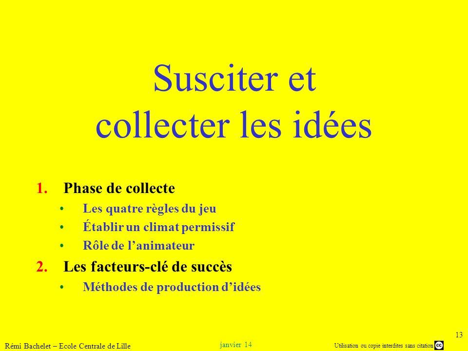 Utilisation ou copie interdites sans citation janvier 14 Rémi Bachelet – Ecole Centrale de Lille 13 Susciter et collecter les idées 1.Phase de collect