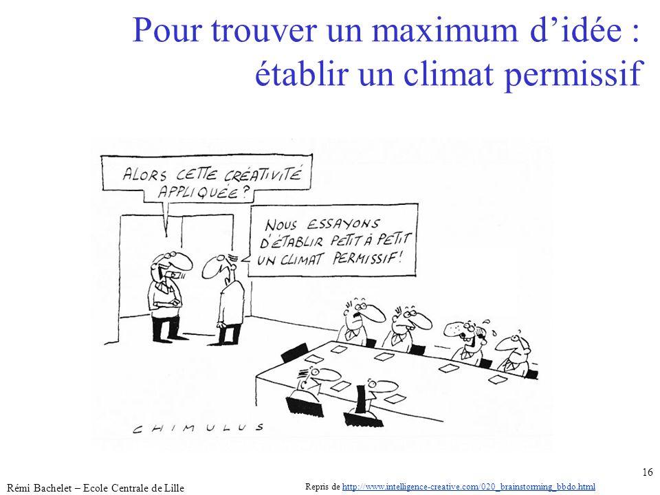 Utilisation ou copie interdites sans citation janvier 14 Rémi Bachelet – Ecole Centrale de Lille 16 Pour trouver un maximum didée : établir un climat