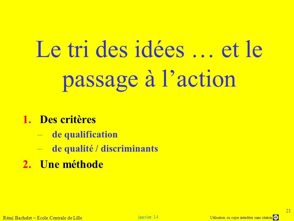Utilisation ou copie interdites sans citation janvier 14 Rémi Bachelet – Ecole Centrale de Lille 21 Le tri des idées … et le passage à laction 1.Des c