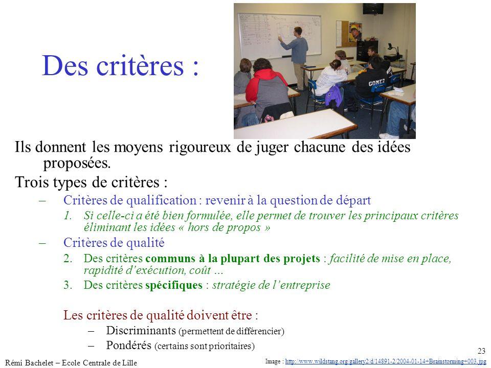 Utilisation ou copie interdites sans citation janvier 14 Rémi Bachelet – Ecole Centrale de Lille 23 Des critères : Ils donnent les moyens rigoureux de
