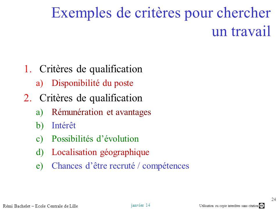 Utilisation ou copie interdites sans citation janvier 14 Rémi Bachelet – Ecole Centrale de Lille 24 Exemples de critères pour chercher un travail 1.Cr