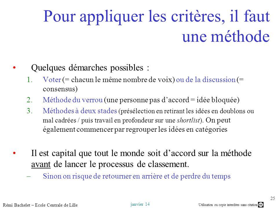 Utilisation ou copie interdites sans citation janvier 14 Rémi Bachelet – Ecole Centrale de Lille 25 Pour appliquer les critères, il faut une méthode Q