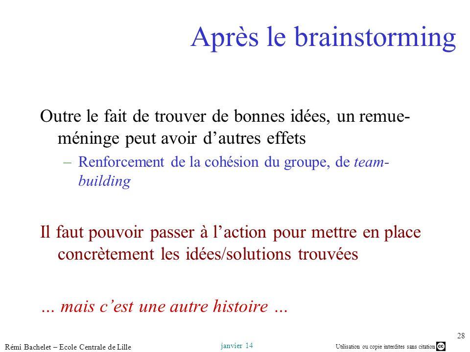 Utilisation ou copie interdites sans citation janvier 14 Rémi Bachelet – Ecole Centrale de Lille 28 Après le brainstorming Outre le fait de trouver de