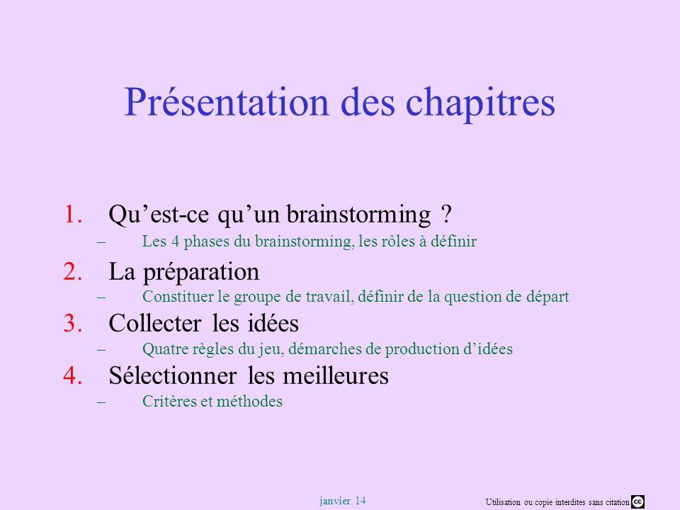 Utilisation ou copie interdites sans citation janvier 14 Rémi Bachelet – Ecole Centrale de Lille 4 Quest-ce quun brainstorming .
