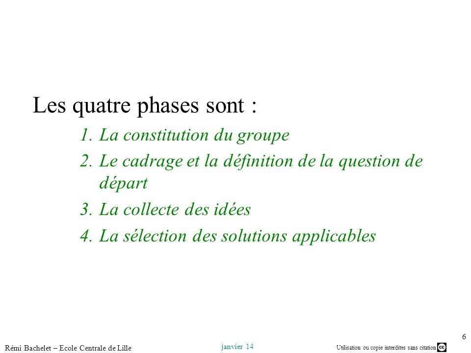 Utilisation ou copie interdites sans citation janvier 14 Rémi Bachelet – Ecole Centrale de Lille 6 Les quatre phases sont : 1.La constitution du group