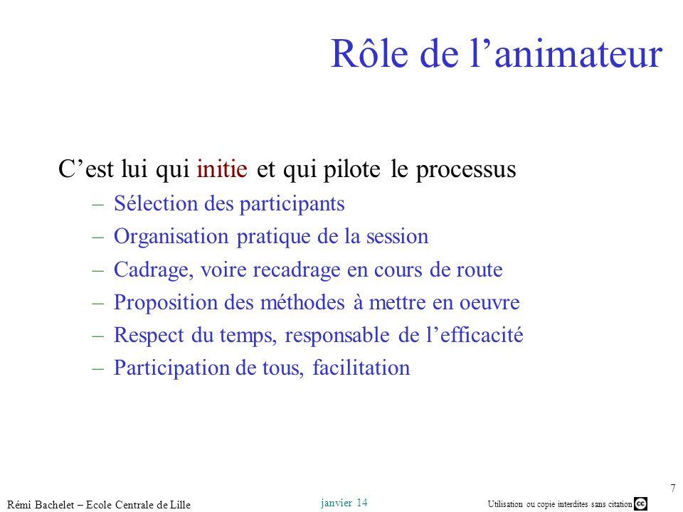 Utilisation ou copie interdites sans citation janvier 14 Rémi Bachelet – Ecole Centrale de Lille 7 Rôle de lanimateur Cest lui qui initie et qui pilot