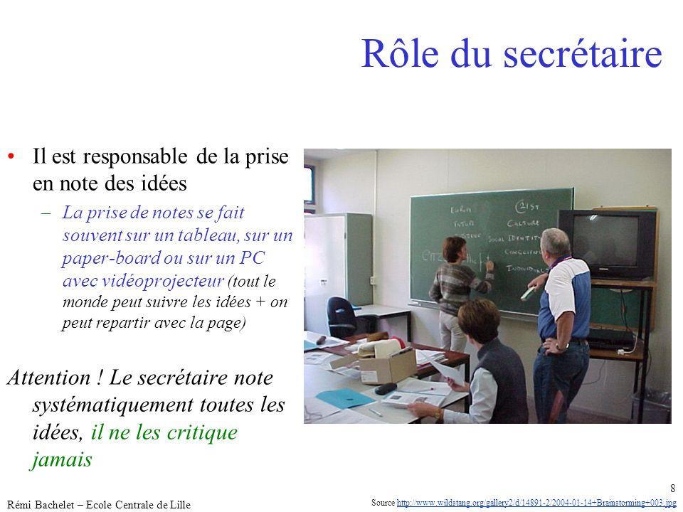 Utilisation ou copie interdites sans citation janvier 14 Rémi Bachelet – Ecole Centrale de Lille 8 Rôle du secrétaire Il est responsable de la prise e