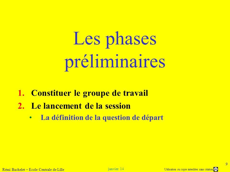 Utilisation ou copie interdites sans citation janvier 14 Rémi Bachelet – Ecole Centrale de Lille 9 Les phases préliminaires 1.Constituer le groupe de