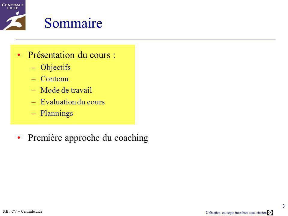 RB / CV – Centrale Lille Utilisation ou copie interdites sans citation 3 Sommaire Présentation du cours : –Objectifs –Contenu –Mode de travail –Evalua