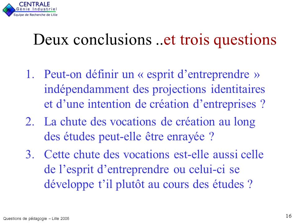 Questions de pédagogie – Lille 2005 16 Deux conclusions..et trois questions 1.Peut-on définir un « esprit dentreprendre » indépendamment des projections identitaires et dune intention de création dentreprises .