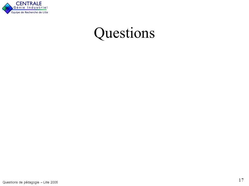 Questions de pédagogie – Lille 2005 17 Questions