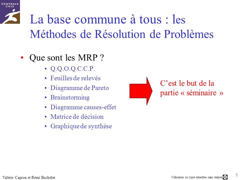46 Utilisation ou copie interdites sans citation Valérie Capron et Rémi Bachelet Amélioration continue Groupes de résolution de problèmes (G.R.P.) Kaizen Roadmaps et benchmarks