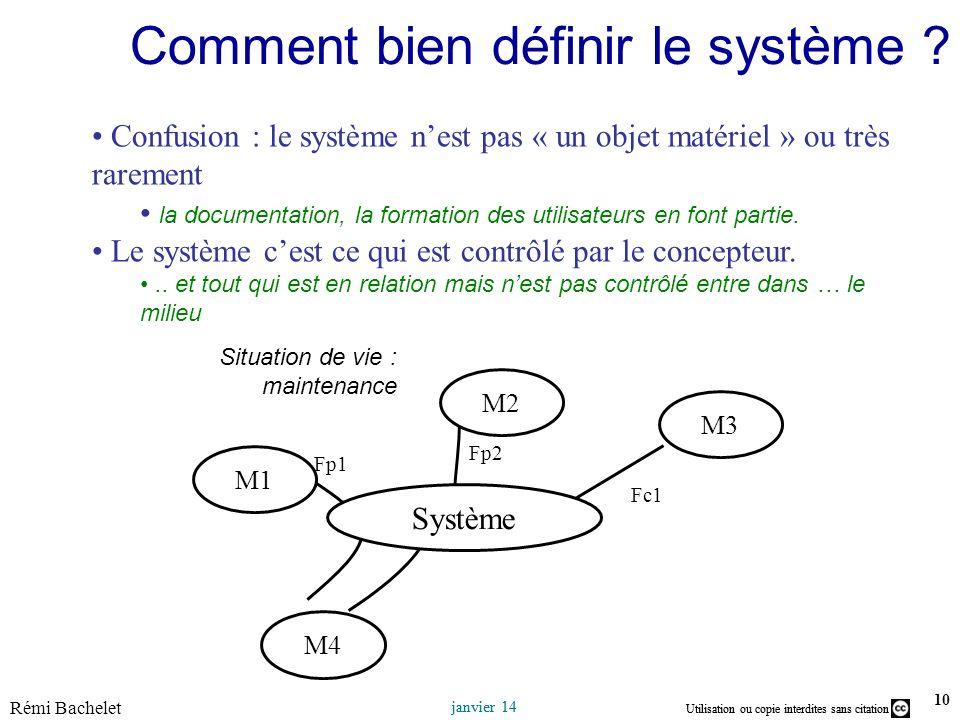Utilisation ou copie interdites sans citation janvier 14 Utilisation ou copie interdites sans citation Rémi Bachelet janvier 14 10 Comment bien définir le système .