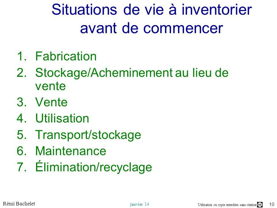 Utilisation ou copie interdites sans citation Rémi Bachelet janvier 14 10 Situations de vie à inventorier avant de commencer 1.Fabrication 2.Stockage/