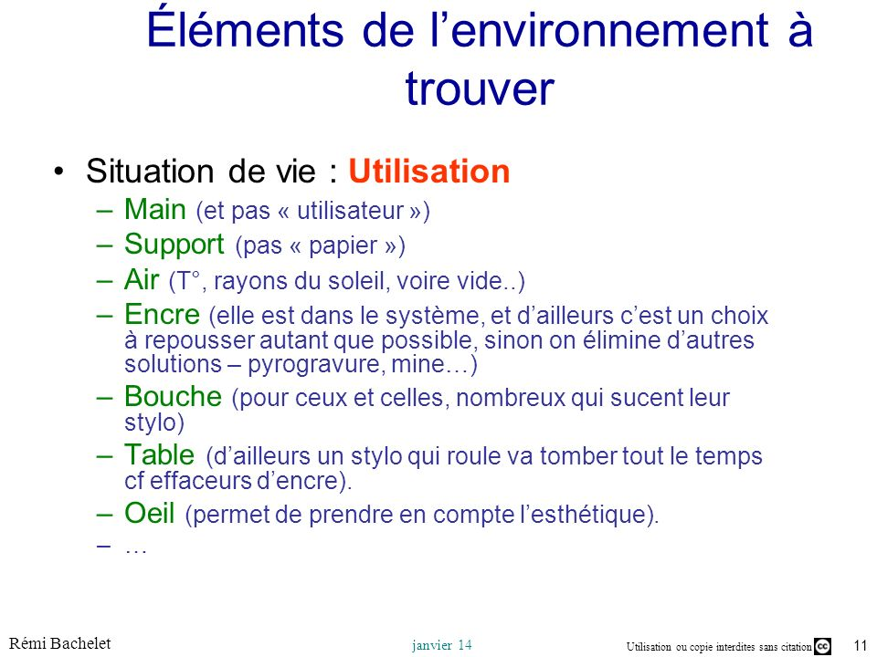 Utilisation ou copie interdites sans citation Rémi Bachelet janvier 14 11 Éléments de lenvironnement à trouver Situation de vie : Utilisation –Main (e