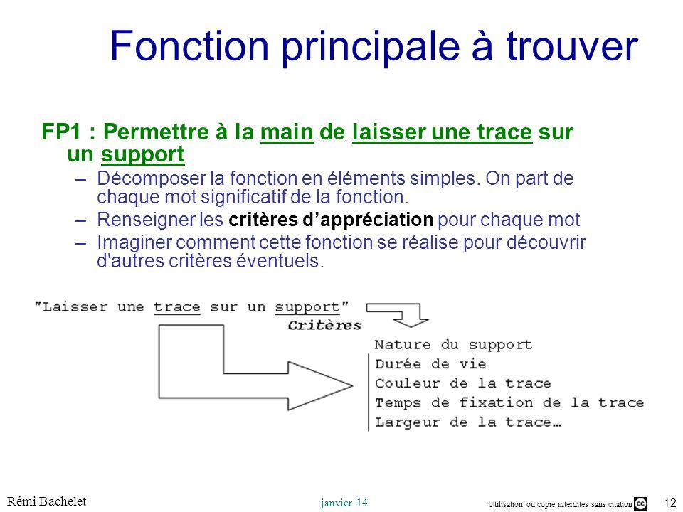 Utilisation ou copie interdites sans citation Rémi Bachelet janvier 14 12 Fonction principale à trouver FP1 : Permettre à la main de laisser une trace