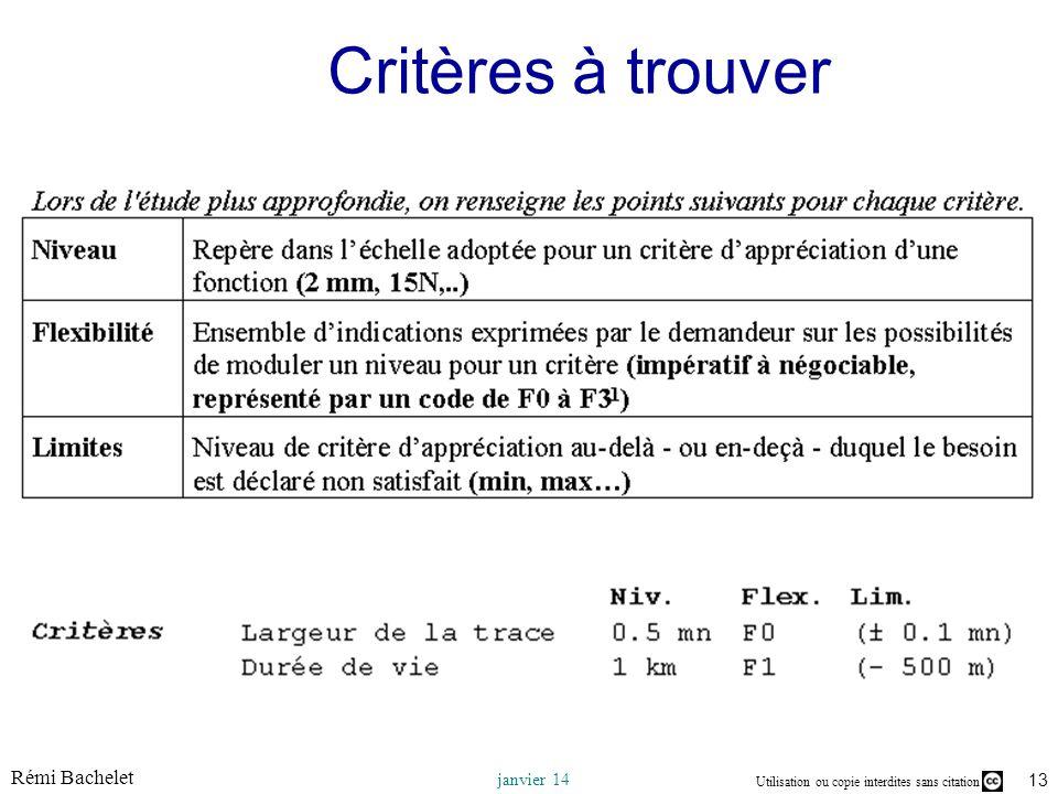 Utilisation ou copie interdites sans citation Rémi Bachelet janvier 14 13 Critères à trouver