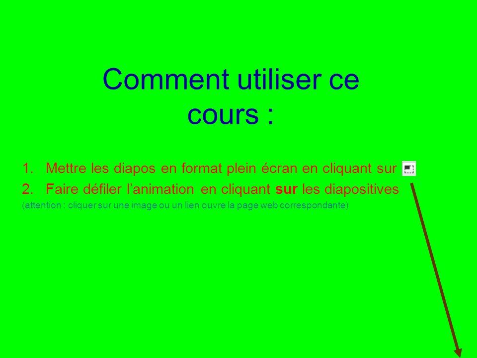 Utilisation ou copie interdites sans citation Rémi Bachelet janvier 14 2 Comment utiliser ce cours : 1.Mettre les diapos en format plein écran en cliq
