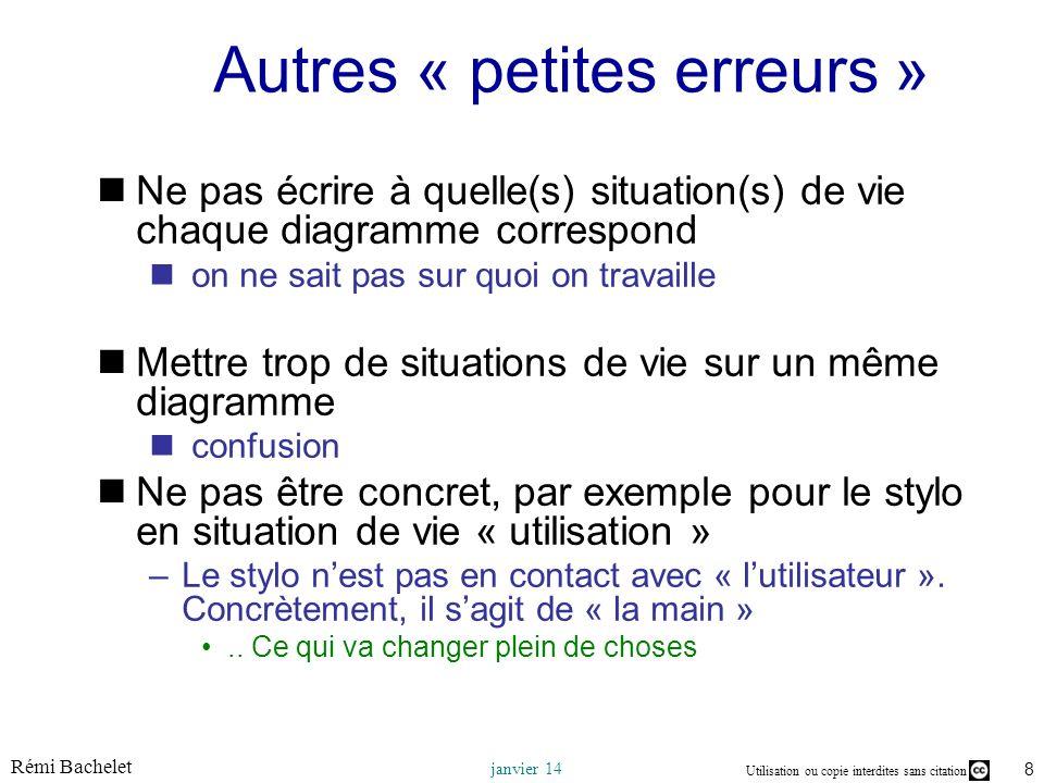 Utilisation ou copie interdites sans citation Rémi Bachelet janvier 14 8 Autres « petites erreurs » Ne pas écrire à quelle(s) situation(s) de vie chaq