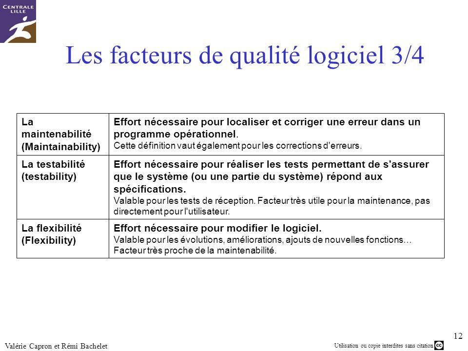 Utilisation ou copie interdites sans citation 12 Valérie Capron et Rémi Bachelet Les facteurs de qualité logiciel 3/4 Effort nécessaire pour modifier