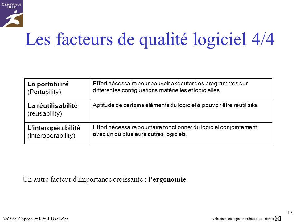 Utilisation ou copie interdites sans citation 13 Valérie Capron et Rémi Bachelet Les facteurs de qualité logiciel 4/4 Effort nécessaire pour faire fon