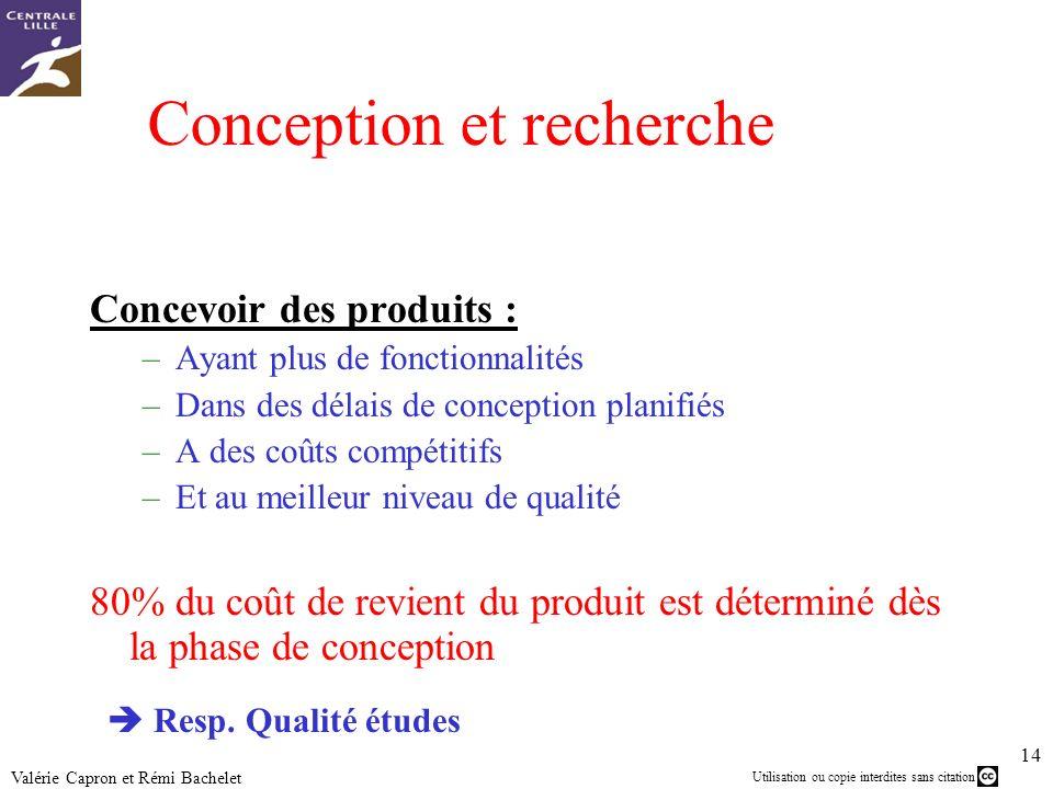 Utilisation ou copie interdites sans citation 14 Valérie Capron et Rémi Bachelet Conception et recherche Concevoir des produits : –Ayant plus de fonct