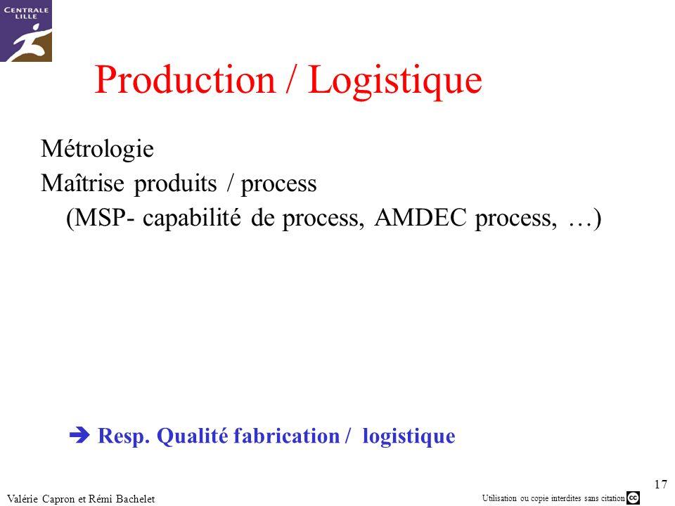 Utilisation ou copie interdites sans citation 17 Valérie Capron et Rémi Bachelet Production / Logistique Métrologie Maîtrise produits / process (MSP-