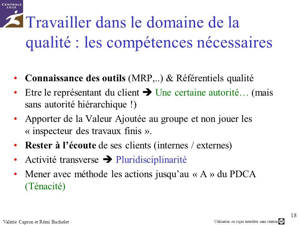 Utilisation ou copie interdites sans citation 18 Valérie Capron et Rémi Bachelet Travailler dans le domaine de la qualité : les compétences nécessaire