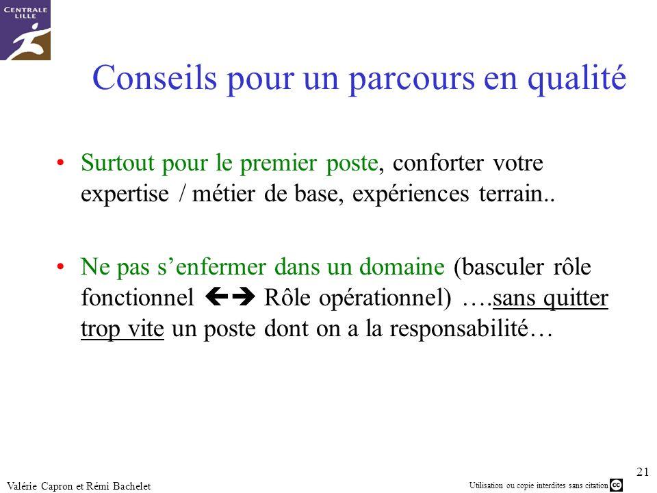 Utilisation ou copie interdites sans citation 21 Valérie Capron et Rémi Bachelet Conseils pour un parcours en qualité Surtout pour le premier poste, c